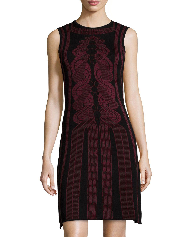 Max Studio Sleeveless Knit Sweaterdress w/Geometric Print, Black/Wine, Women's, Size: S, Black/H W