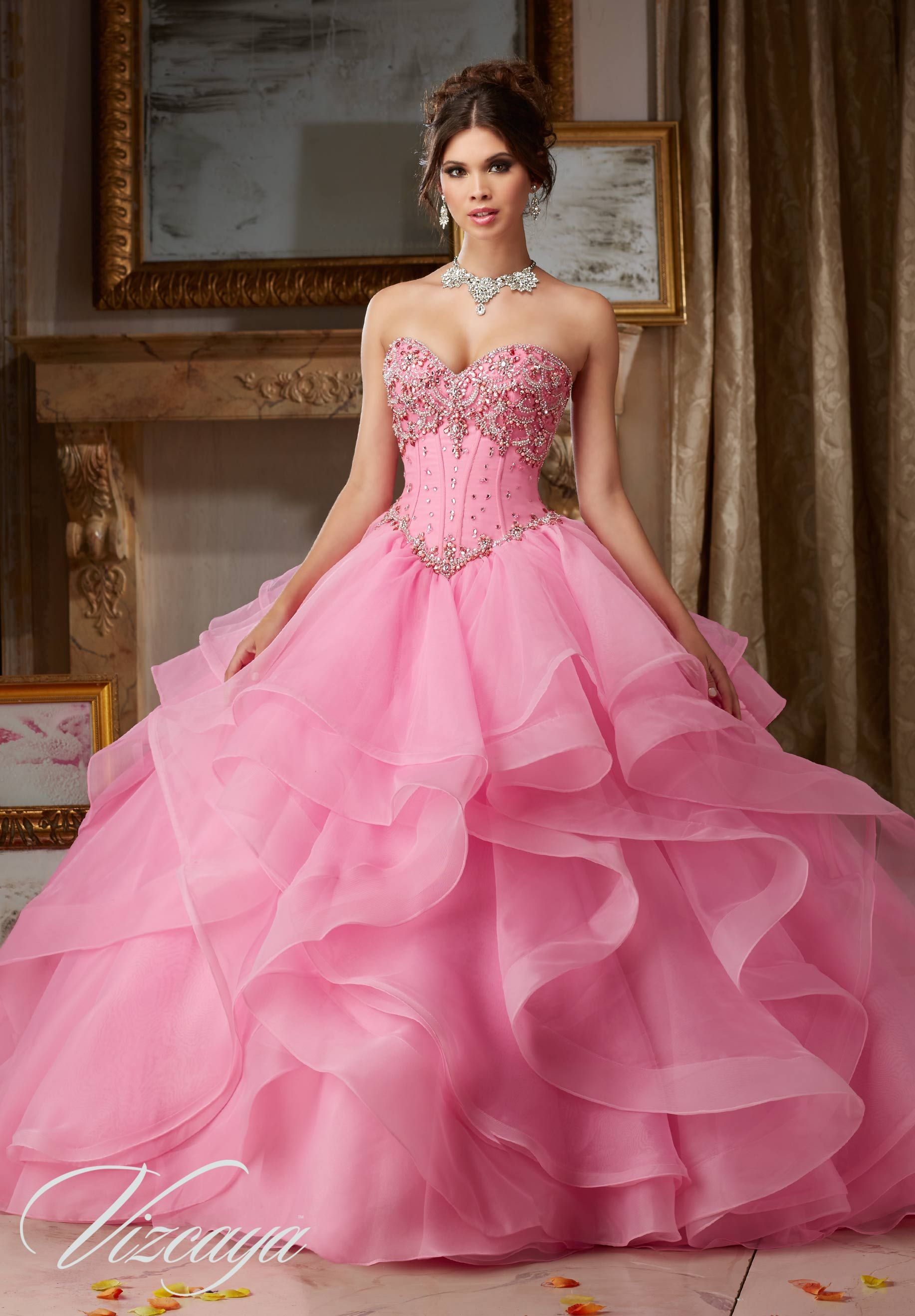 Organza Quinceañera Dress featuring Tiered Skirt with Horsehair ...