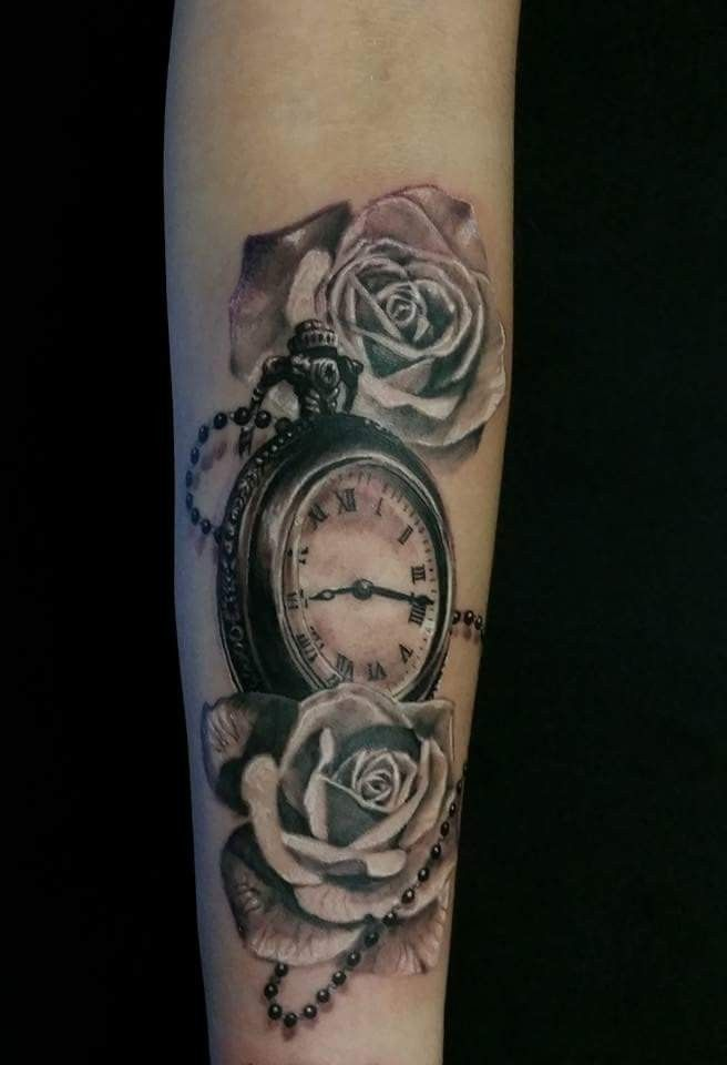 pocket watch and rose chronicink tattoo markham tatoos
