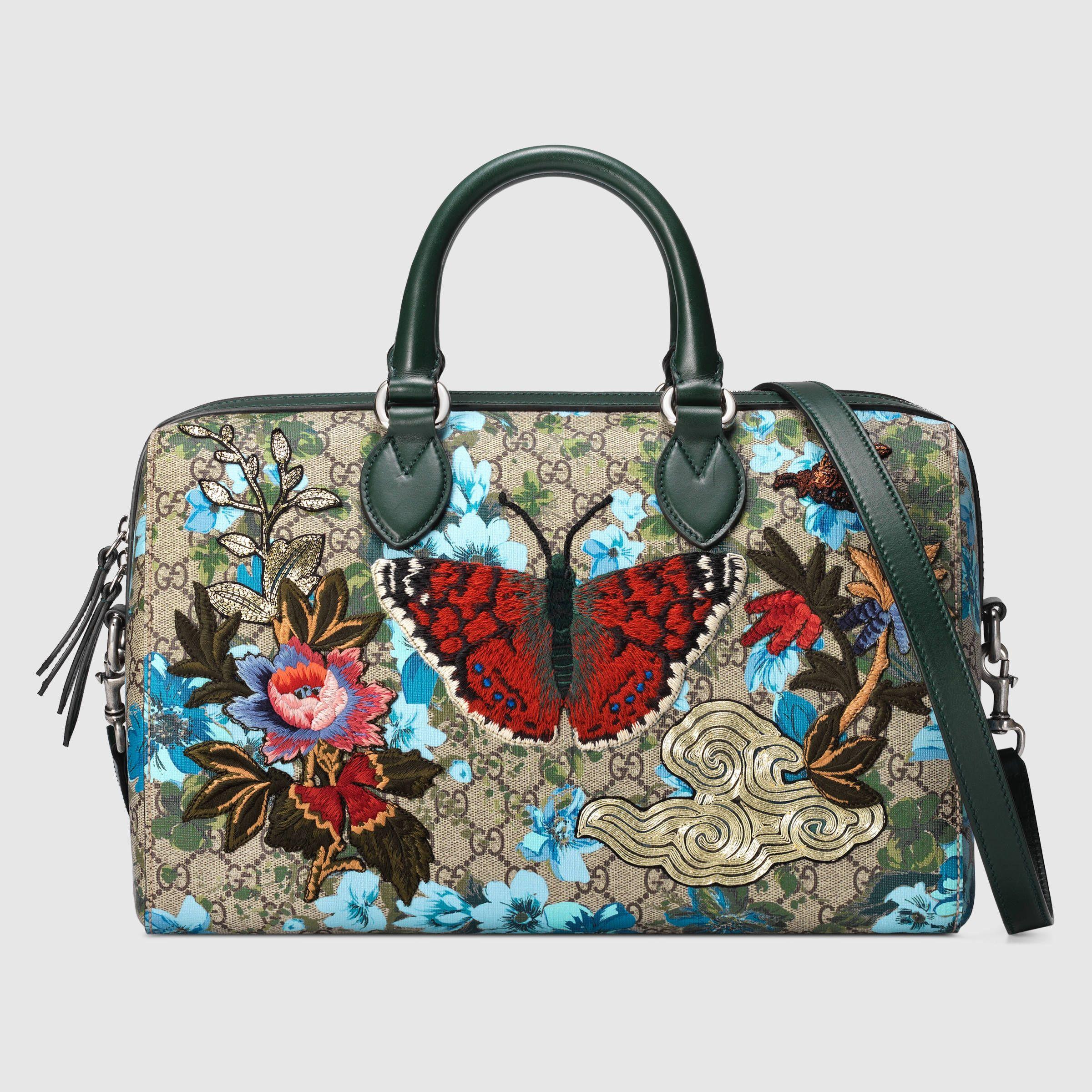 48574c36deb Gucci Fall 2016- GG floral print top handle Boston Bag   2,650 ...
