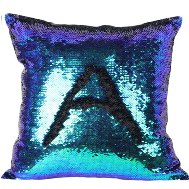magic mermaid sequin reversible cushion cover 40cmx40cm color changing pillow cover - Color Changing Pillow
