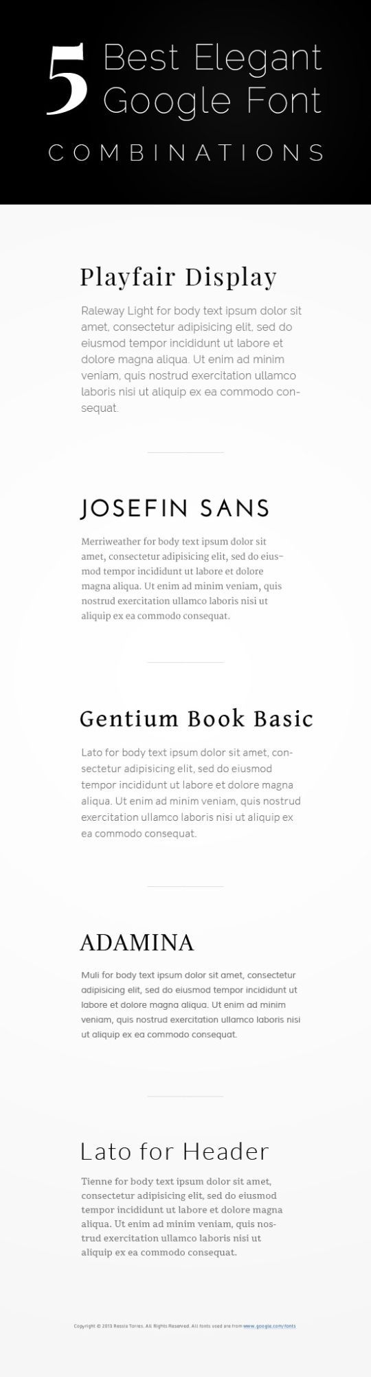 5 Best Elegant Google Font Combinations. The nice thing about Google fonts are that they are already web-ready and you don't have to host them yourself! Just add a link in your CSS.