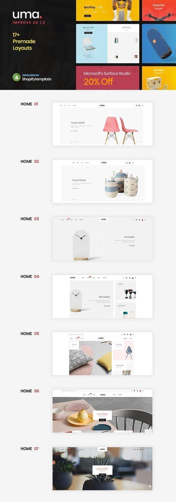Uma - Minimal Clean Multiple Shopify Theme | Shopify Website Themes