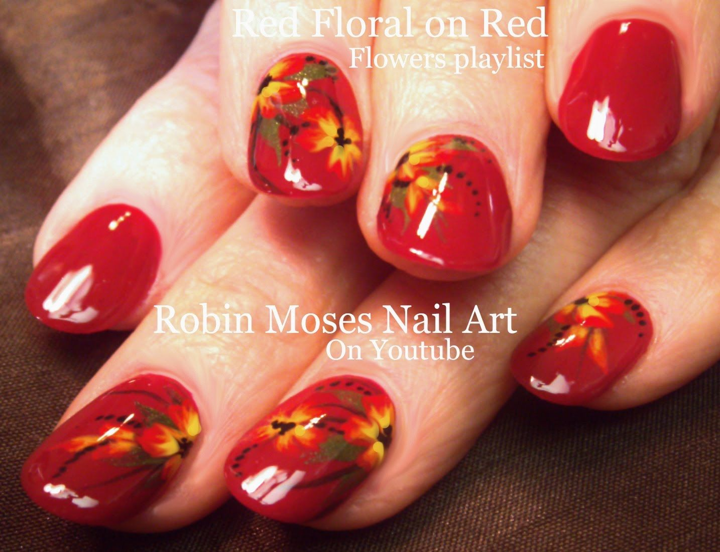 Red with flowers Nail Art | Easy Flowers Design for short nails ...