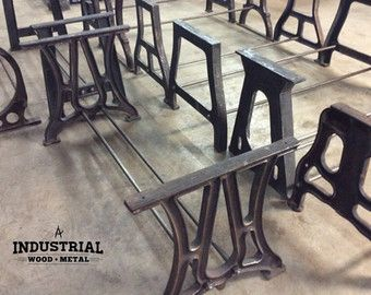 Vintage Industrial Build To Suit Cast Iron Table Bases