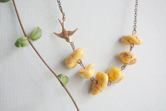 Collar de turquesa joyería turquesa collar amarillo por RachelleD
