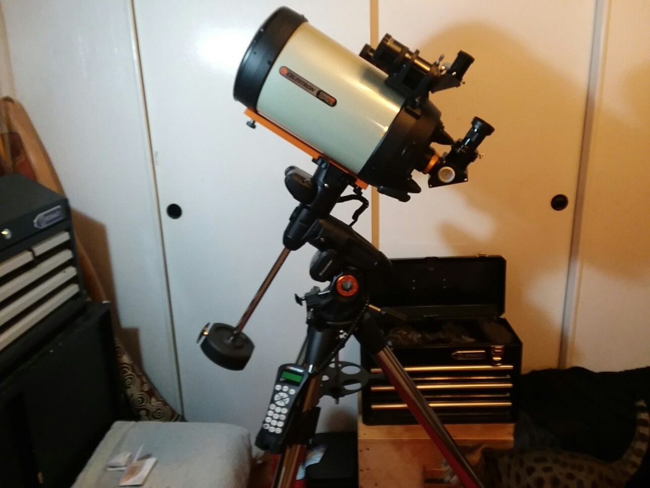 My new Celstron 8 inch HD edge telescope and mount, from