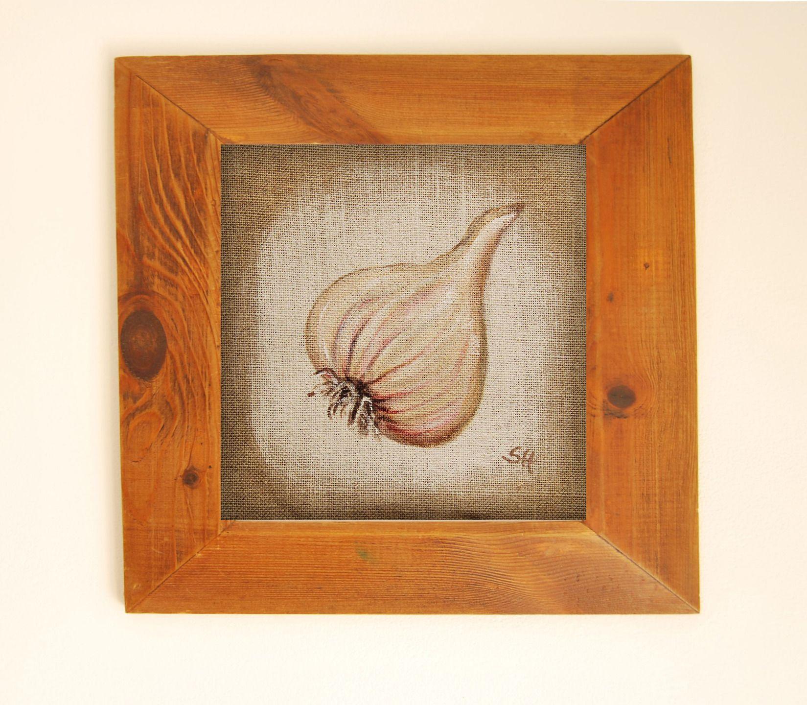 ognons blanc peinture originale sur toile de lin pi ce pour cr ation application et motifs. Black Bedroom Furniture Sets. Home Design Ideas