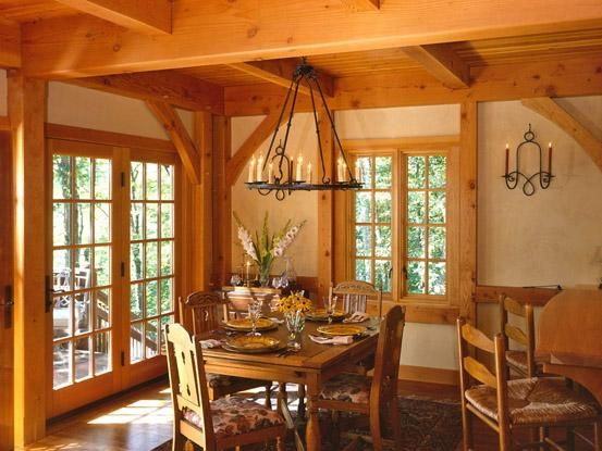 Timber Frame Home Dining Room Chandelier Over Table French Doors To Deck