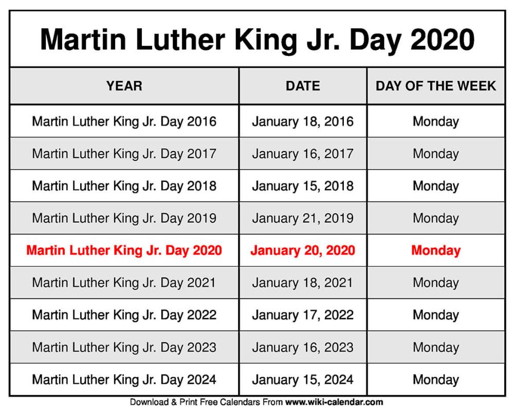 Martin Luther King Jr. Day 2020 Calendar   January calendar, 2021