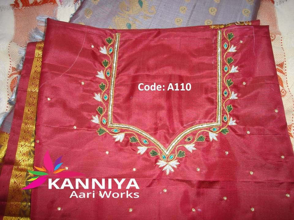 Simple Thread Work On Blouse Kanniya Aari Works Blouse Designs