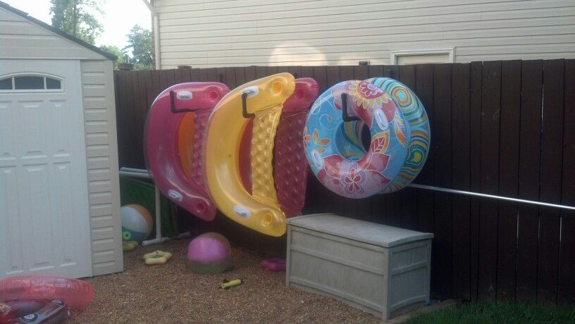 Pool Float Storage The Hubby Made These Great Hooks Out Of Pvc Only Cost About 5 Per And I Spray Painted Them Brown