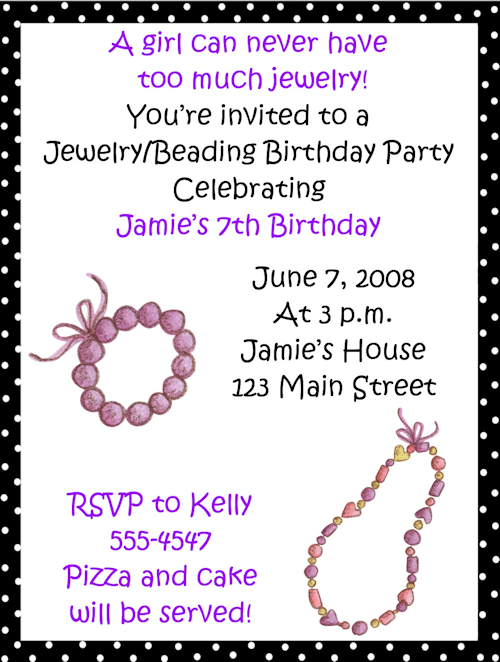 Jewelrybeading birthday party invitations merry heart 2 jewelrybeading birthday party invitations stopboris Choice Image