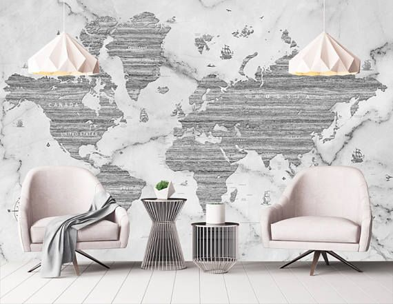 Marble world map removable wallpaper peel stick black white marble world map removable wallpaper peel stick black white gumiabroncs Choice Image