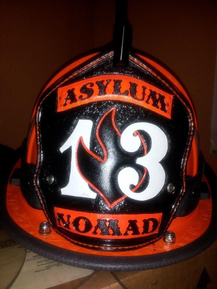 Custom leather shield made for fire asylum firefighter