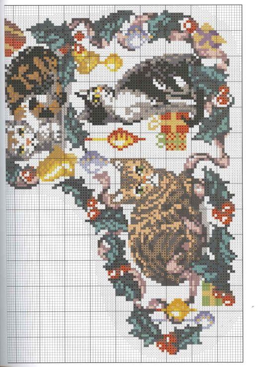 Christmas Stocking Cats Part 2 Free Cross Stitch Pattern