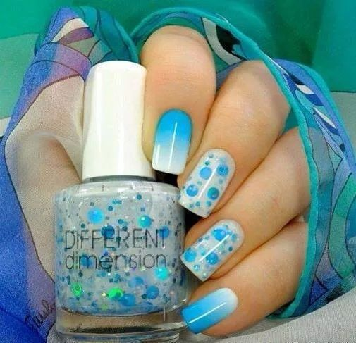 Baby Blue White Ombre Nails Cute Accent Nails Va Va Voom Nails