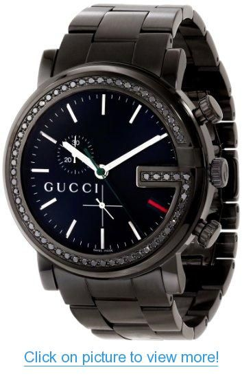 1c7c25e1d6c Gucci Unisex YA101347 G-Chrono Black PVD 60 Black Diamonds Case Watch