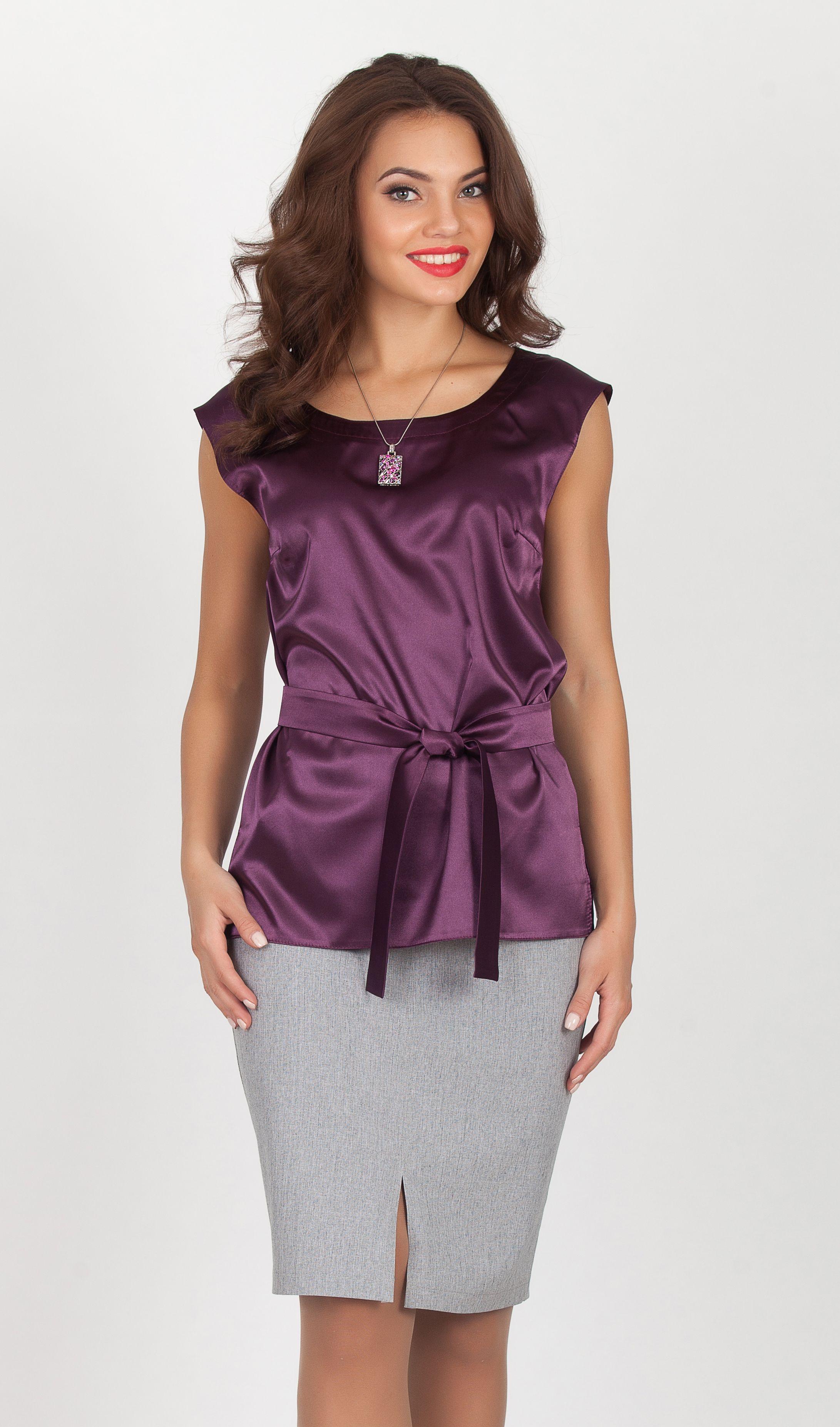 Purple Sleeveless Satin Blouse | Blouses/Tops | Pinterest | Blusas y ...