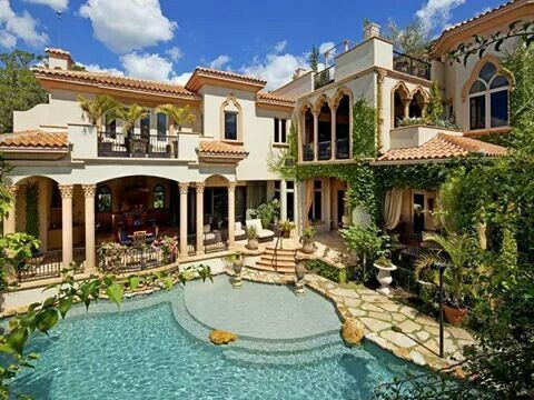 Jardin Piscina Mediterranean Mansion Mansions Mediterranean Villa