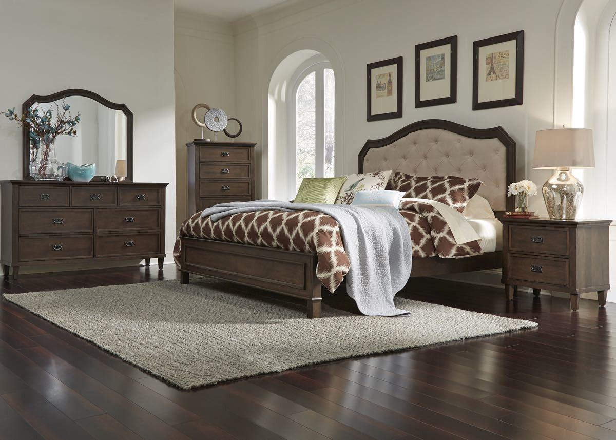 Antique Walnut Upholstered Queen Bedroom Set Bedroom