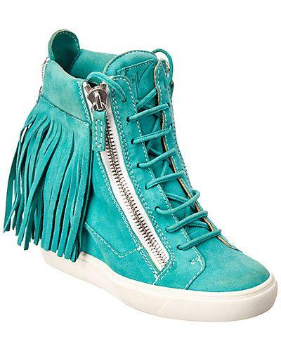 1b013cd350d3d Rue La La — Giuseppe Zanotti Suede Fringe High Top Wedge Sneaker ...