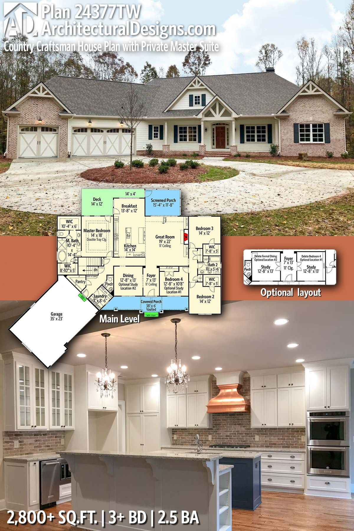 5 master bedroom house plans  Architectural Designs Plan TW has  beds and  baths and