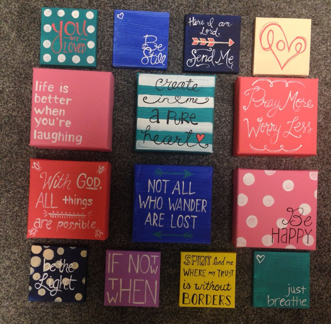 Mini canvas painting ideas 3x3 and 4x4 mini canvases diy mini canvas painting canvas - Exterior painting quotes set ...