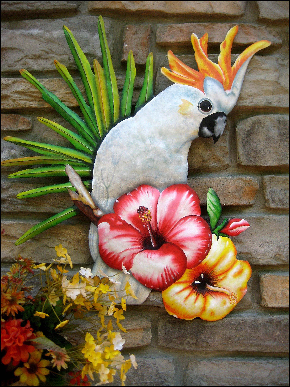 Cockatoo Parrot Painted Metal Wall Hanging Tropical Decor Bird