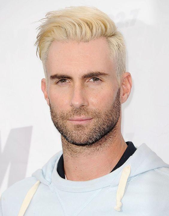 image result for adam levine platinum blonde hair
