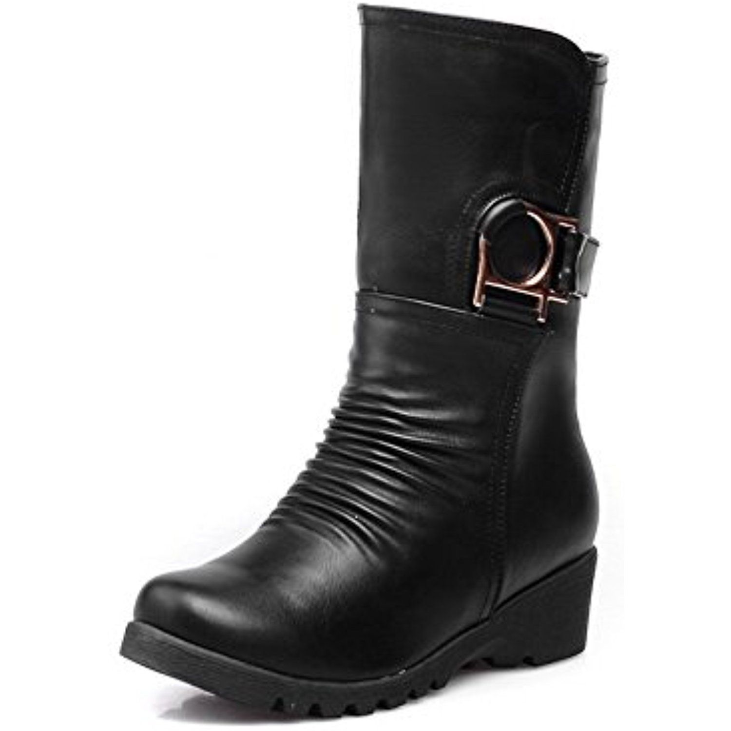 Women's Pu Low Top Solid Pull On Low Heels Boots