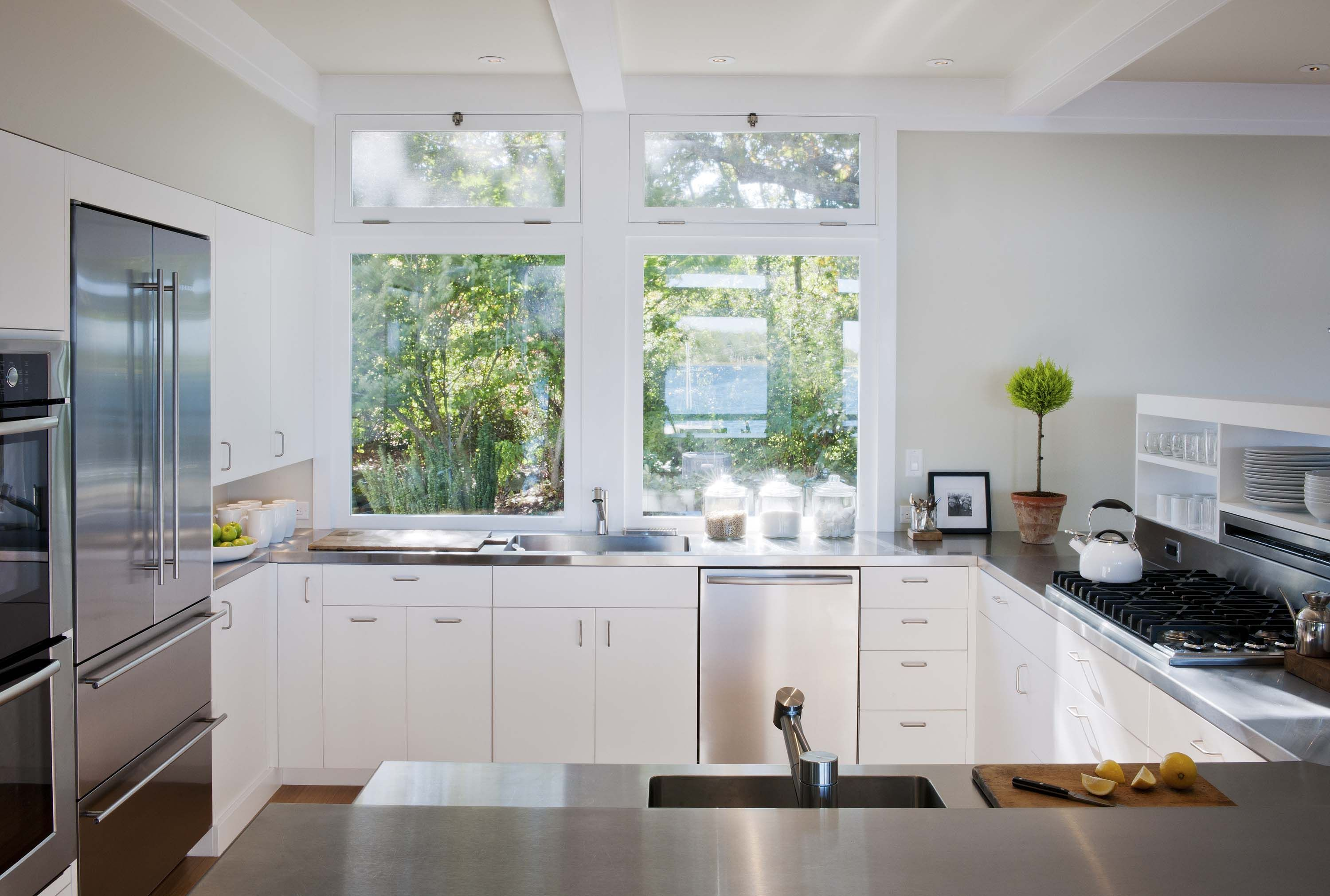 A crisp, clean Contemporary Crown Point kitchen with custom ...