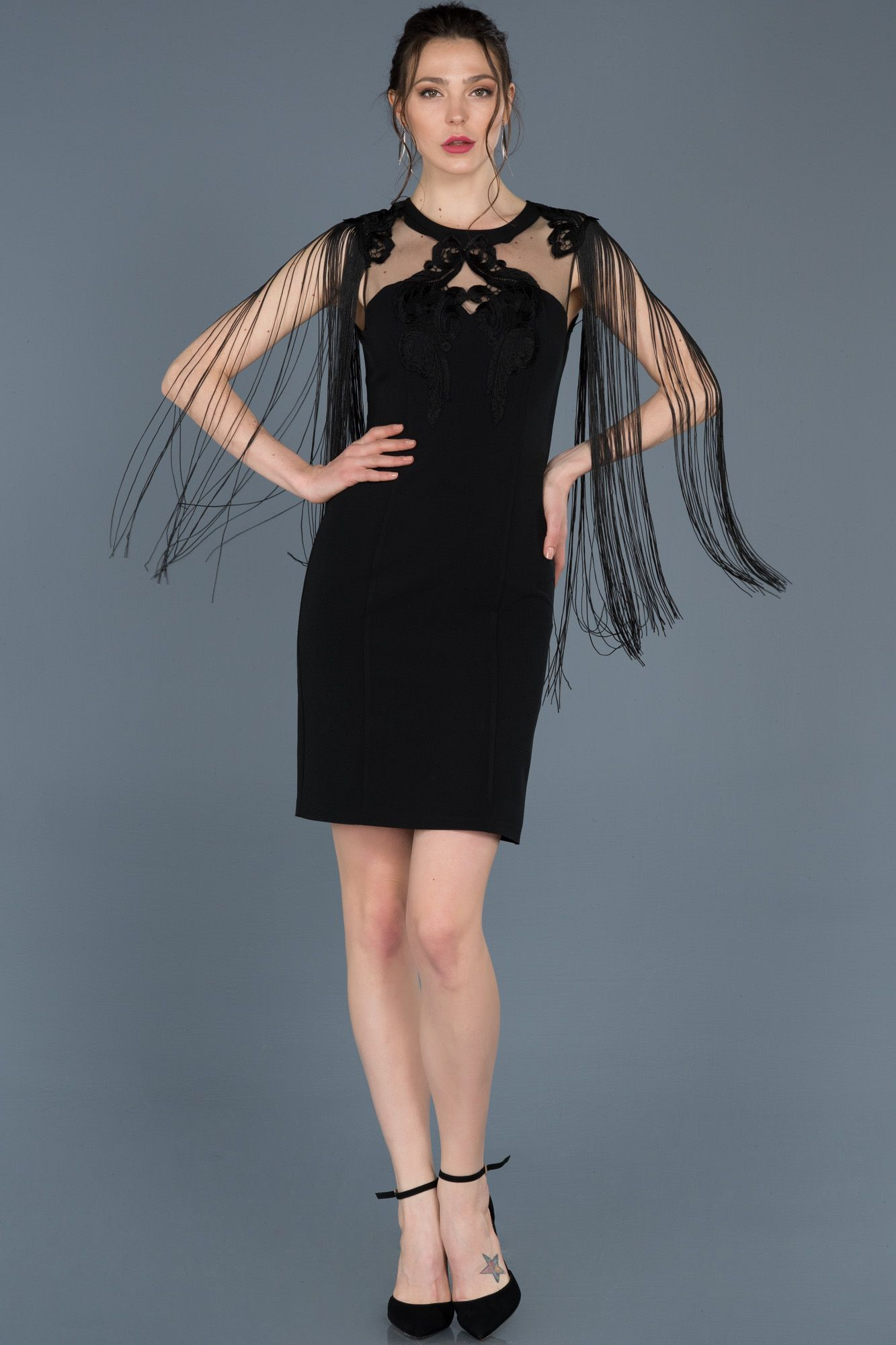 Siyah Kisa Puskullu Davet Elbisesi Abk439 Moda Stilleri Siyah Kisa Elbise Siyah Abiye