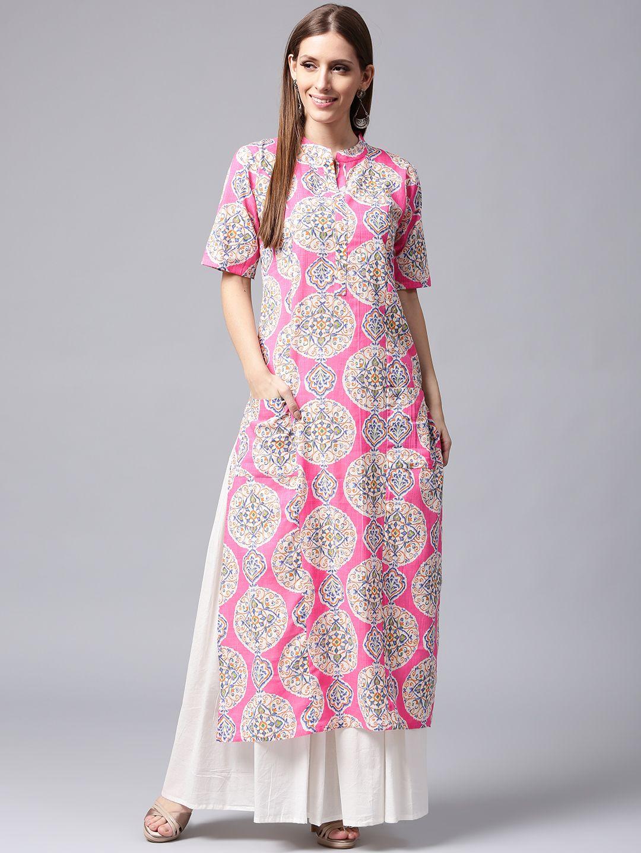92feb8d7f3e Buy Nayo Women Pink   White Printed Kurta With Skirt - Kurta Sets for Women  2241104
