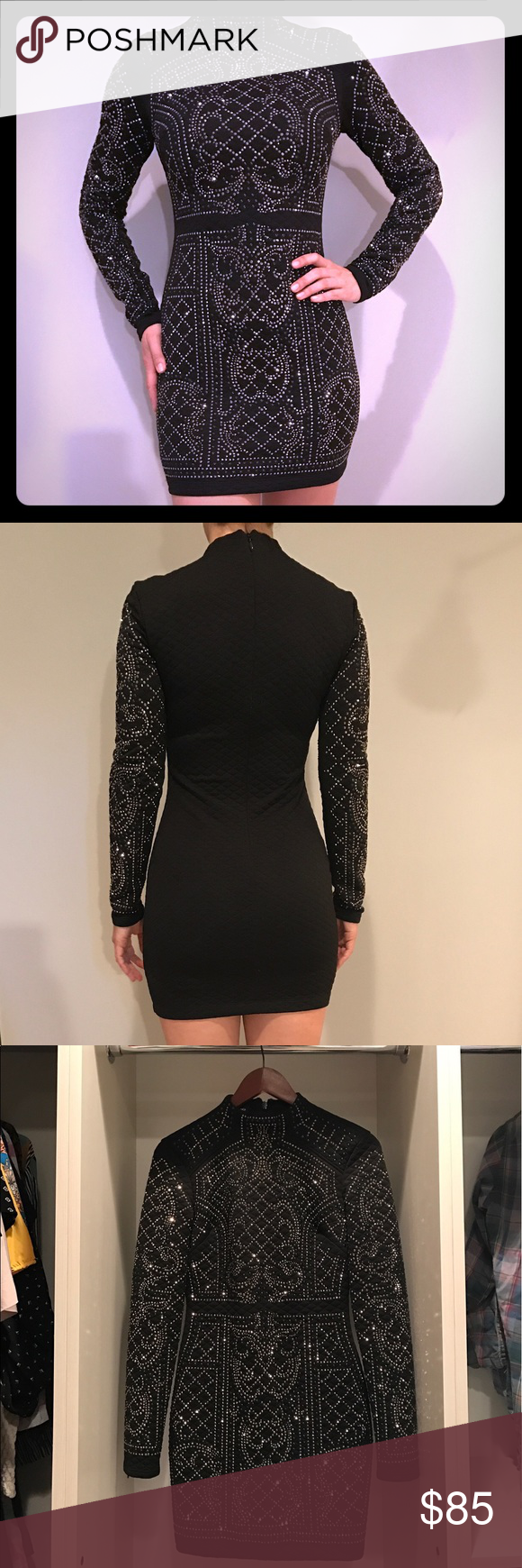 Bebe dress black sleeve and keys