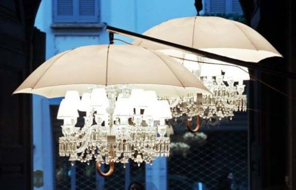 Philippe Starck Umbrella Lights - love the mix of everyday object and the ornate.