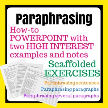 Paraphrasing Activitie Paraphrase Teaching Writing Easy Quote To