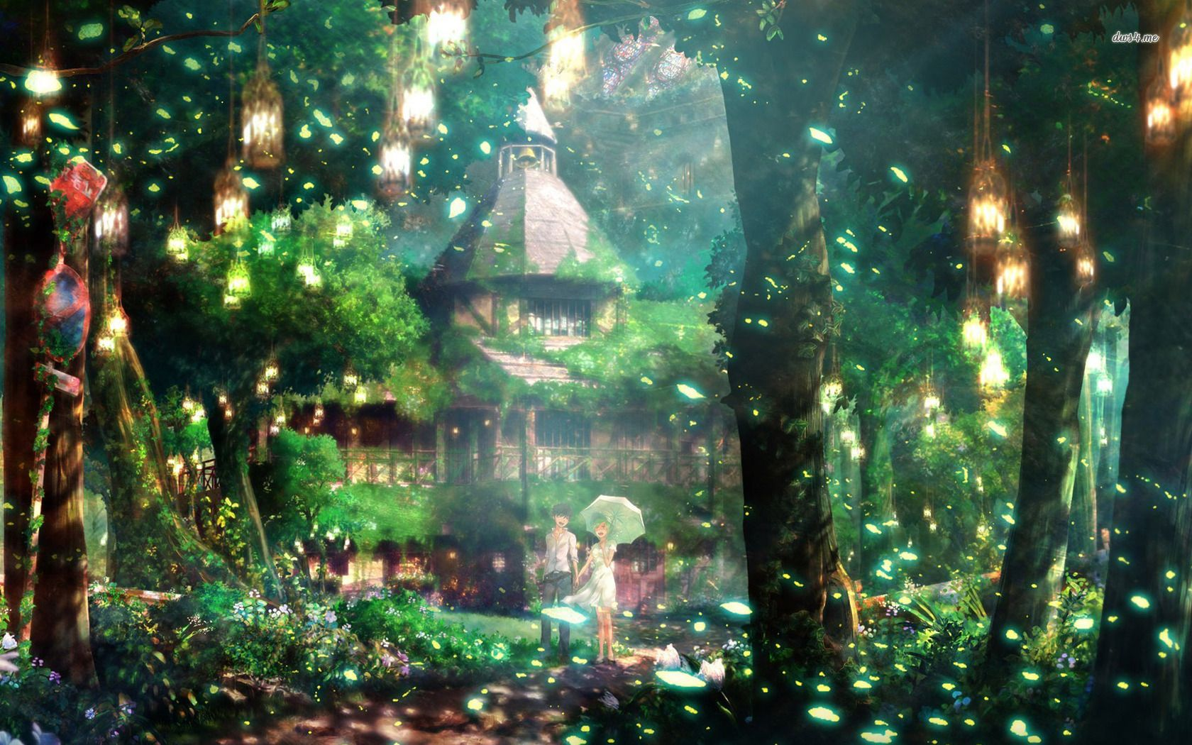 Couple In Magical Forest Animated Scenery Art