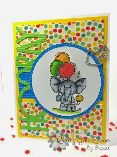 Happy birthday card with a cute elephant holding balloons Handmade