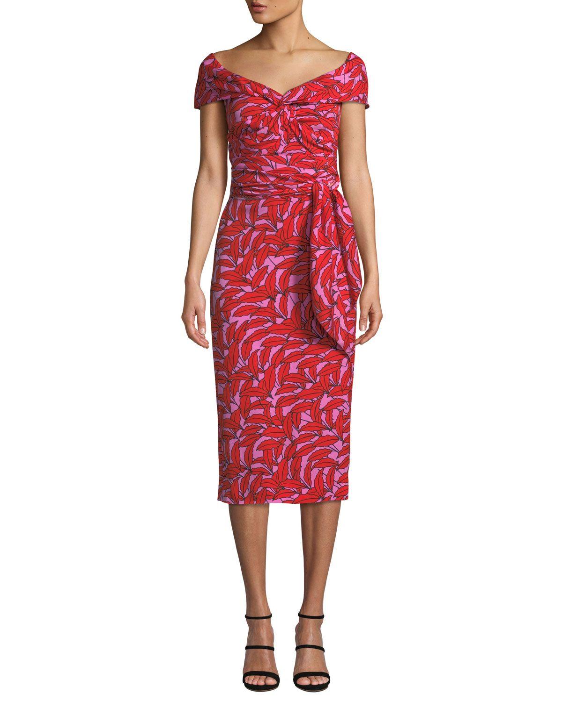 498bf73d94 Diane von Furstenberg Delphine Printed Off-Shoulder Cocktail Dress | Neiman  Marcus