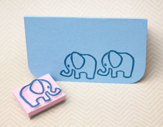Baby Elephant Hand Carved Stamp for Acrylic by hugfishandorange, $4.50