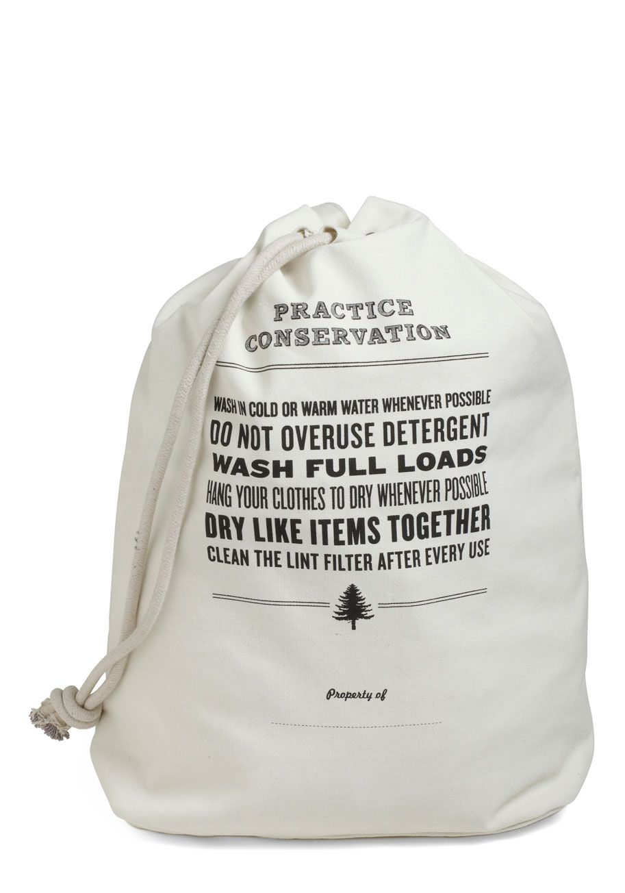 reduce, reuse, rinse cycle laundry bag - white, dorm decor, solid