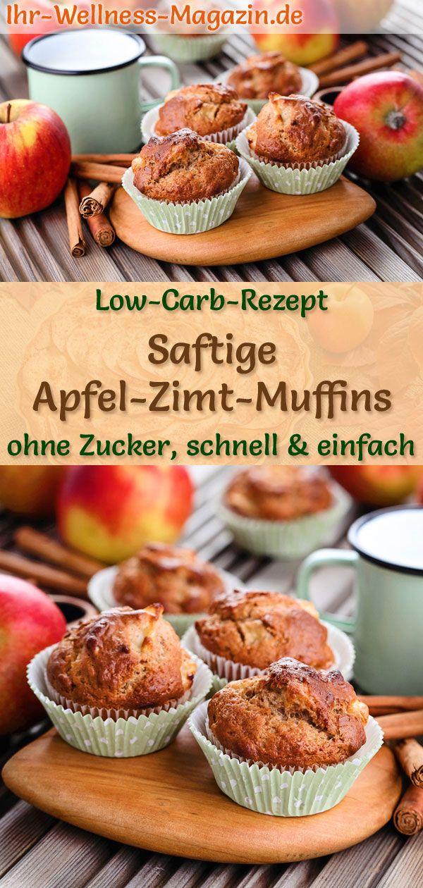 Saftige Low Carb Apfel-Zimt-Muffins - einfaches Rezept ohne Zucker