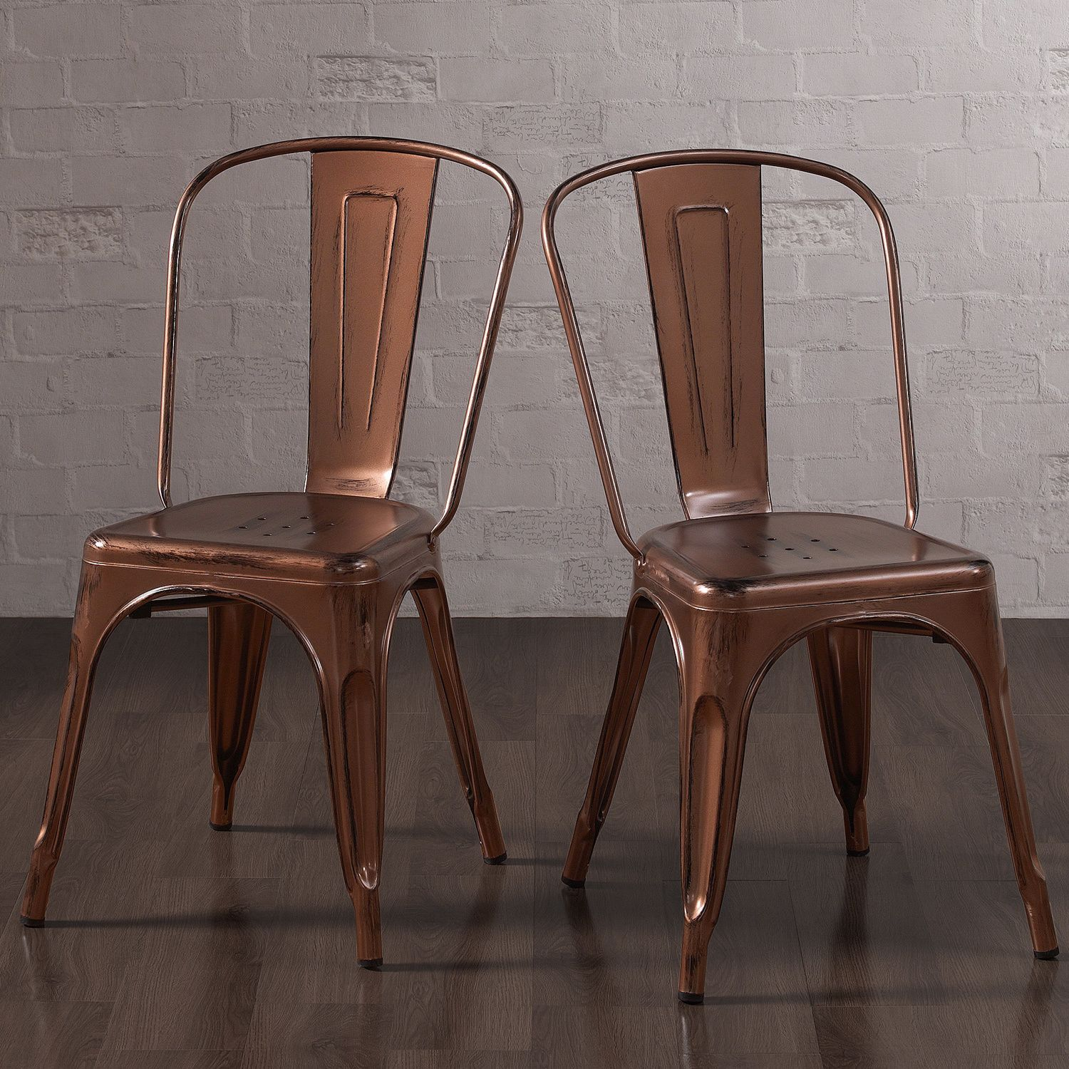 Tabouret Brushed Copper Bistro Side Chairs (Set Of 2), Brown (Metal)