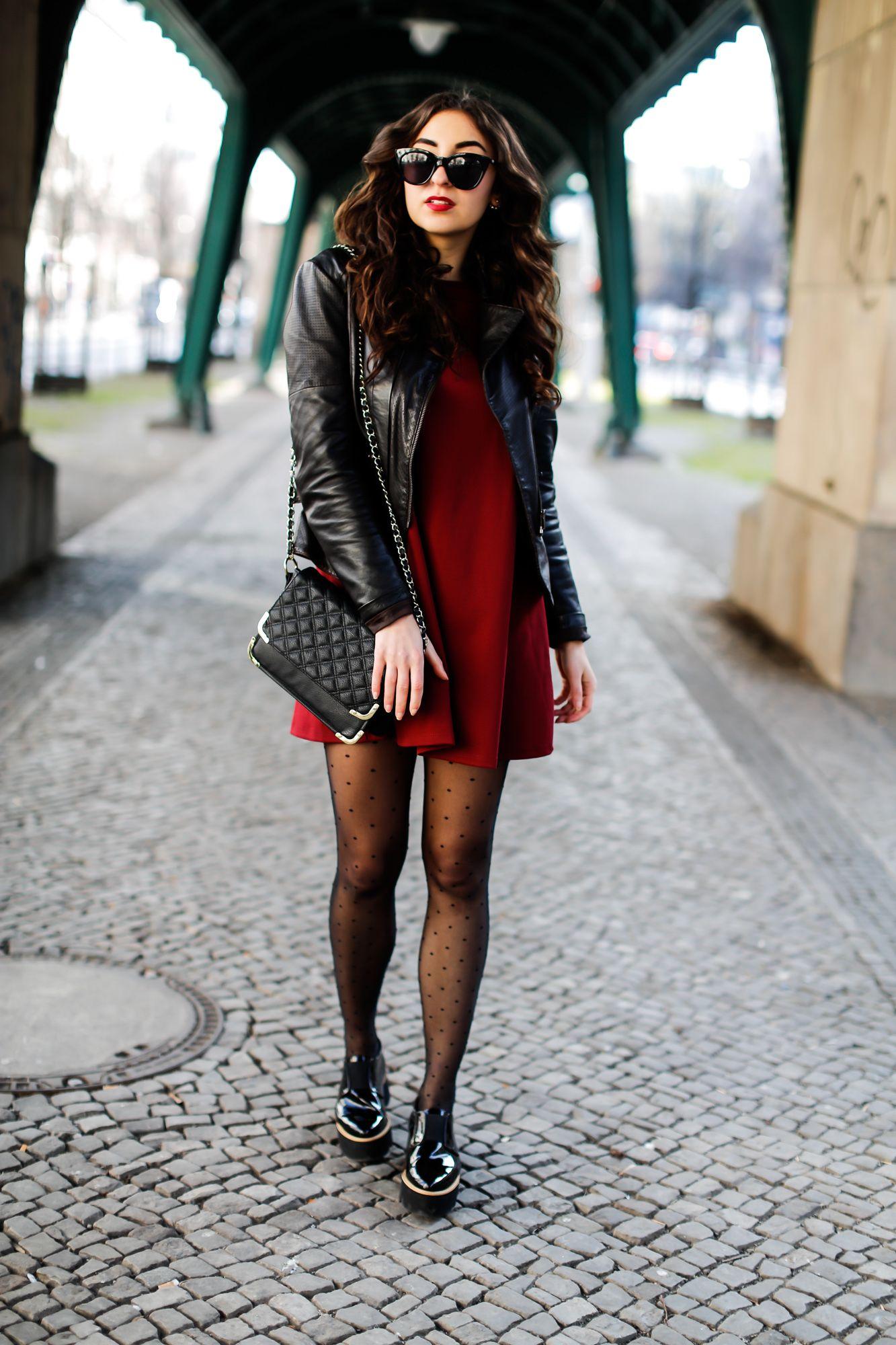 Bikerjacke rot schwarz