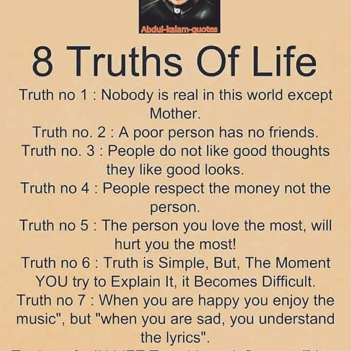 8 Truths Of Life Inspirational Life Quotes Life Quotes