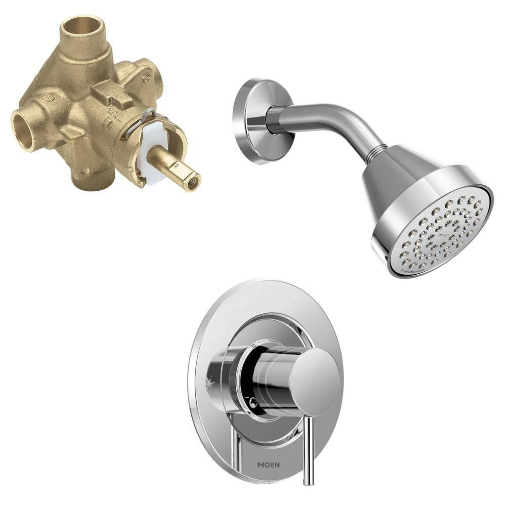 Moen Align Single Handle 1 Spray Shower Faucet Trim Kit With Valve In Chrome Valve Included T2192ep 2520 Shower Faucet Faucet Tub Shower Faucets
