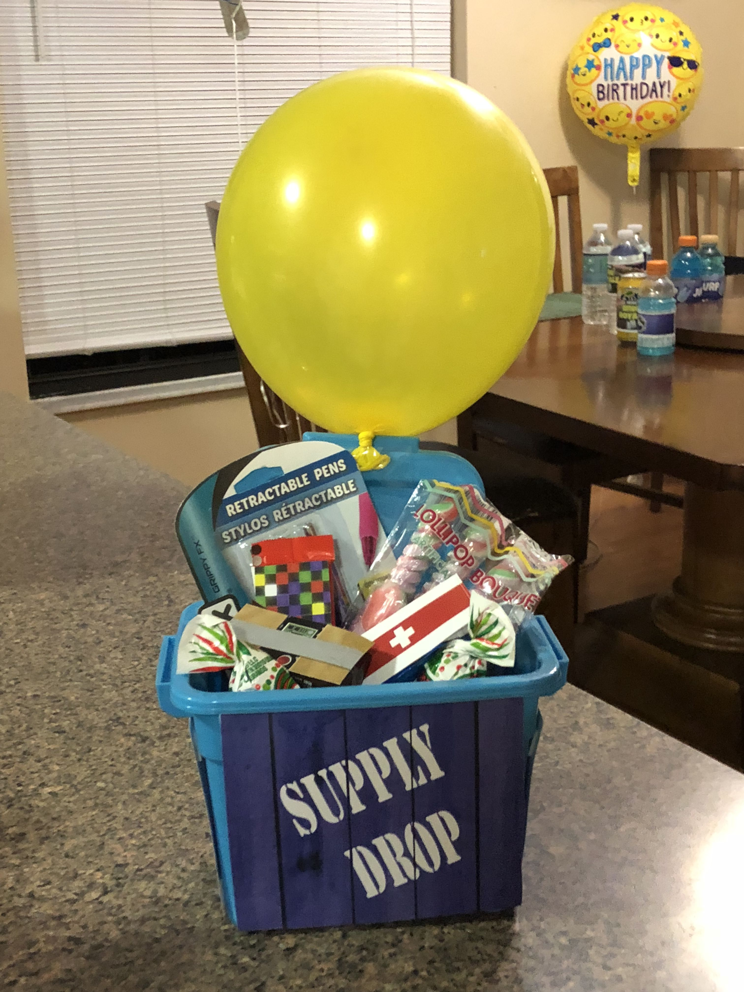 Supply Drop Fortnite Party Favors Blue Container From Dollar Tree