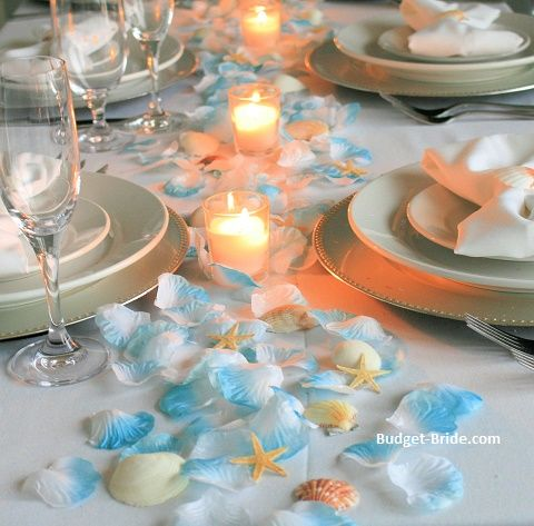 Beach Theme Table Runner With Turquoise Tipped Rose Petals