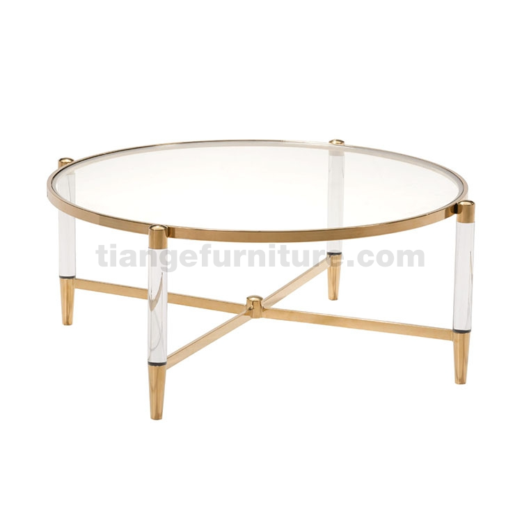 Clear Acrylic Gold Round Coffee Table In 2020 Lucite Coffee
